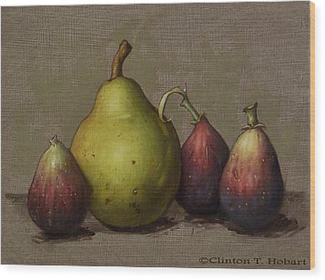Pear And Figs Wood Print by Clinton Hobart