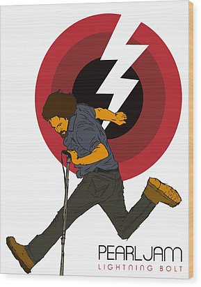 Pearl Jam Lightning Bolt Wood Print by Tomas Raul Calvo Sanchez