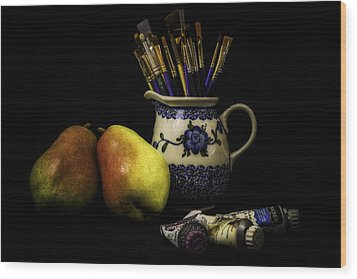 Pears And Paints Still Life Wood Print by Jon Woodhams