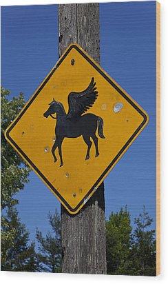 Pegasus Road Sign Wood Print by Garry Gay