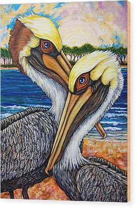 Pelican Pair Wood Print by Sherry Dole