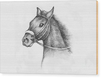 Pencil Drawing Of A Horse Wood Print by Kiril Stanchev