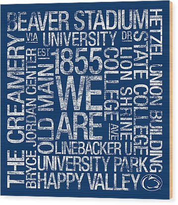 Penn State College Colors Subway Art Wood Print by Replay Photos