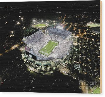 Penn State Whiteout Wood Print by Amesphotos