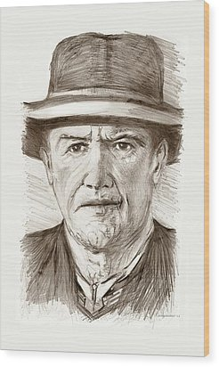 People Of Old West A Pencil Drawing In Black And White  Wood Print by Mario Perez