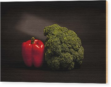 Pepper Nd Brocoli Wood Print by Peter Tellone