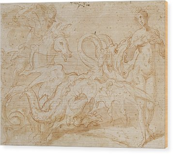Perseus Rescuing Andromeda Red Chalk On Paper Wood Print by or Zuccaro, Federico Zuccari