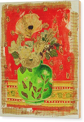 Petals And Leaves Wood Print by Diane Fine