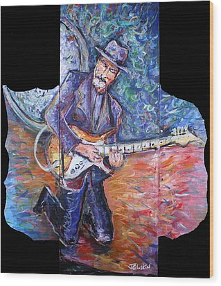 Peter Parcek Plays The Blues Wood Print by Jason Gluskin