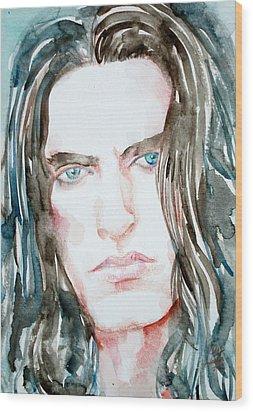 Peter Steele Watercolor Portrait Wood Print by Fabrizio Cassetta