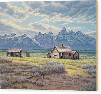 Pfeiffer Homestead-tetons Wood Print by Paul Krapf