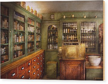 Pharmacy - Room - The Dispensary Wood Print by Mike Savad