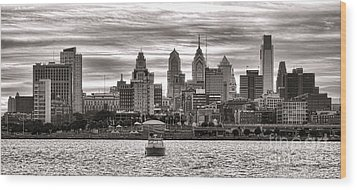 Philadelphia Silver Wood Print by Olivier Le Queinec