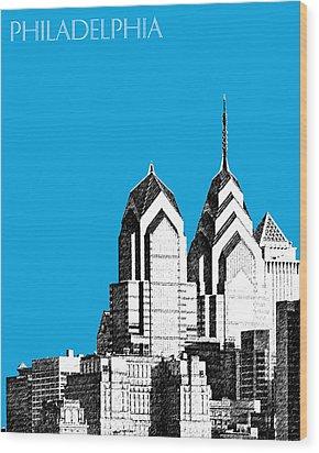 Philadelphia Skyline Liberty Place 1 - Ice Blue Wood Print by DB Artist