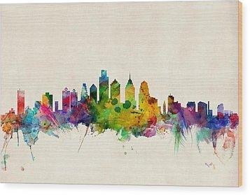 Philadelphia Skyline Wood Print by Michael Tompsett