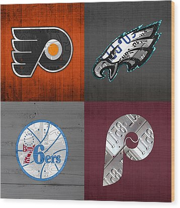 Philadelphia Sports Fan Recycled Vintage Pennsylvania License Plate Art Flyers Eagles 76ers Phillies Wood Print by Design Turnpike