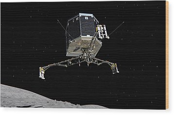 Wood Print featuring the photograph Philae Lander Descending To Comet 67pc-g by Science Source