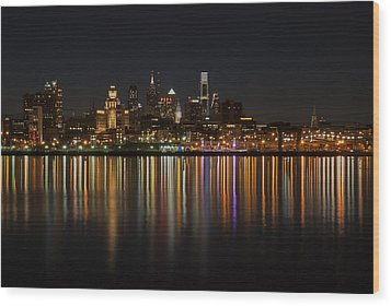 Philly Night Wood Print by Jennifer Ancker