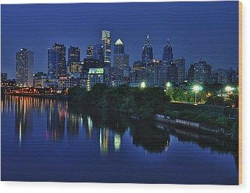 Philly Skyline Wood Print by Mark Fuller
