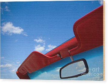 Photo Of Convertible Car And Blue Sky Wood Print by Paul Velgos