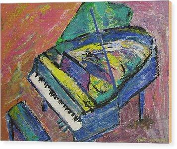 Piano Blue Wood Print by Anita Burgermeister
