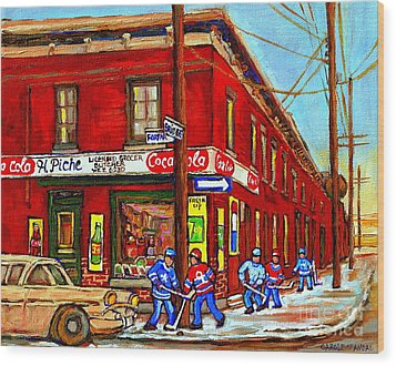 Piche's Grocery Store Bridge Street And Forfar Goosevillage Montreal Memories By Carole Spandau Wood Print by Carole Spandau