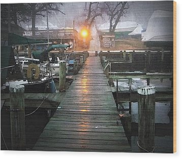 Pier Light - Watercolor Effect Wood Print by Brian Wallace
