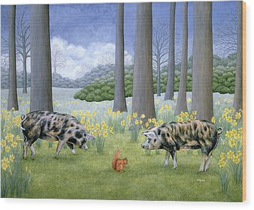 Piggy In The Middle Wood Print by Ditz