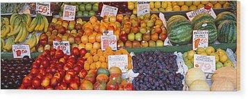 Pike Place Market Seattle Wa Usa Wood Print by Panoramic Images