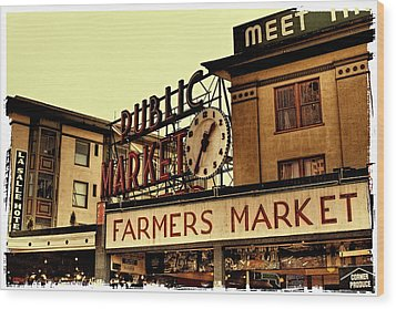 Pike Place Market - Seattle Washington Wood Print by David Patterson