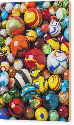 Pile Of Marbles Wood Print by Garry Gay