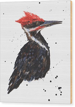 Pileated Woodpecker Watercolor Wood Print by Alison Fennell
