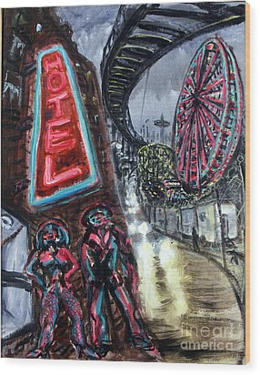 Pimp And Prostitute In Coney Island Wood Print by Arthur Robins