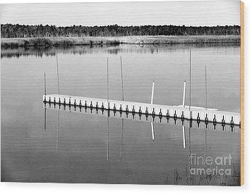 Pine Barrens Dock Wood Print by John Rizzuto