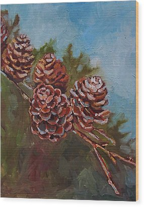 Pinecones Wood Print by Suzanne Tynes