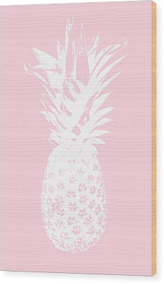 Pink And White Pineapple Wood Print by Linda Woods