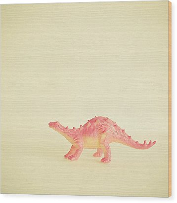Pink Dinosaur Wood Print by Cassia Beck