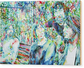Pink Floyd At The Park Watercolor Portrait Wood Print by Fabrizio Cassetta