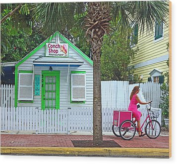 Pink Lady And The Conch Shop  Wood Print by Rebecca Korpita