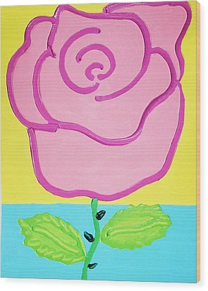 Pink Rose Wood Print by Matthew Brzostoski