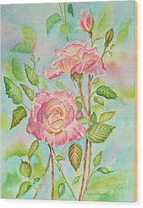 Pink Roses And Bud Wood Print by Kathryn Duncan