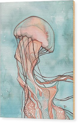 Pink Sea Nettle Jellyfish Wood Print by Tamara Phillips