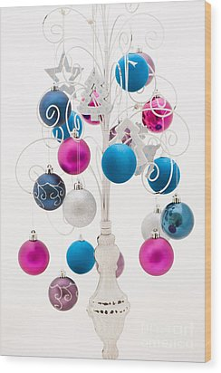 Pink White And Blue Christmas Wood Print by Anne Gilbert