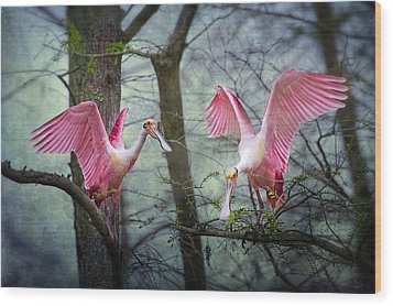 Pink Wings In The Swamp Wood Print by Bonnie Barry