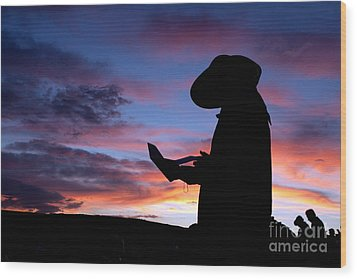 Pioneer Silhouette Reading Letter Wood Print by Cindy Singleton