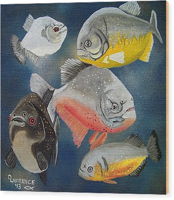 Pirahna  Fish Wood Print by Debbie LaFrance