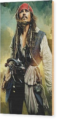 Pirates Of The Caribbean Johnny Depp Artwork 1 Wood Print by Sheraz A