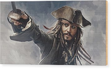 Pirates Of The Caribbean Johnny Depp Artwork 2 Wood Print by Sheraz A