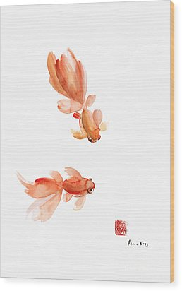 Pisces Zodiac Fishes Orange Red  Pink Fish Water Goldfish Watercolor Painting Wood Print by Johana Szmerdt
