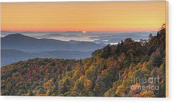 Pisgah Sunrise - Blue Ridge Parkway Wood Print by Dan Carmichael